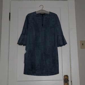 BCBG blue faux-suede dress NWT